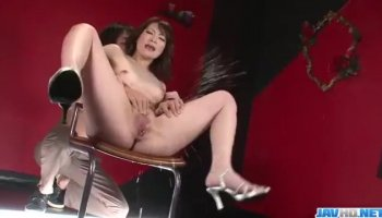 Red hair Roxy is bured on a couch and enjoys the fuck