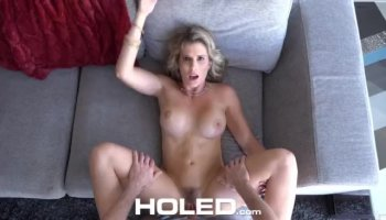 Jenna Ross laying on the massage table and sucking his rod