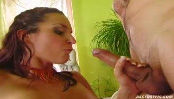 Redhead Alicia impales her butt on a long shlong