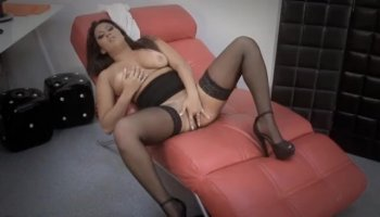 Hot gorgeous bbw blonde Jazella Moore goes onto thick cock and cums.